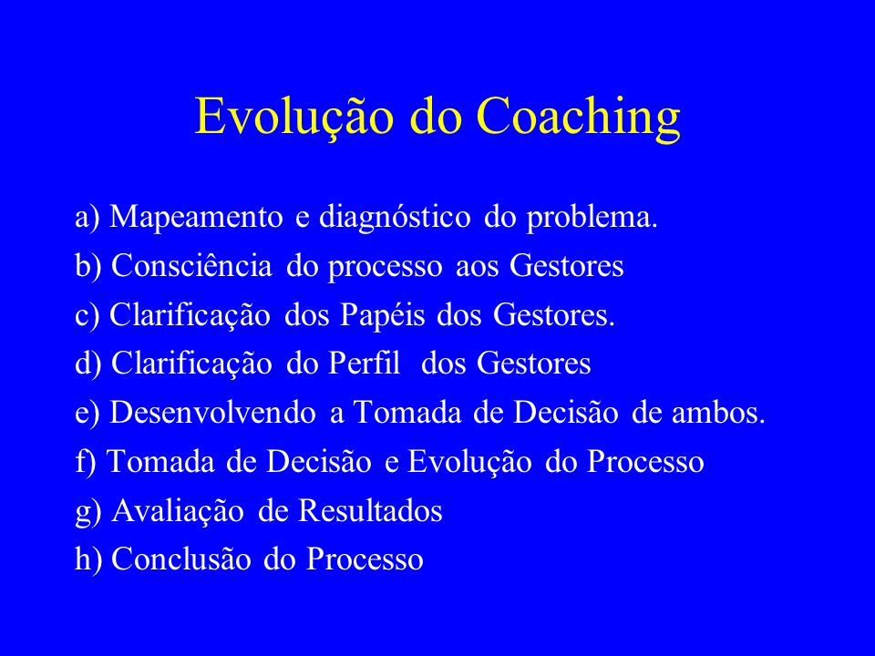 Evolução do Coaching a) Mapeamento e diagnóstico do problema.
