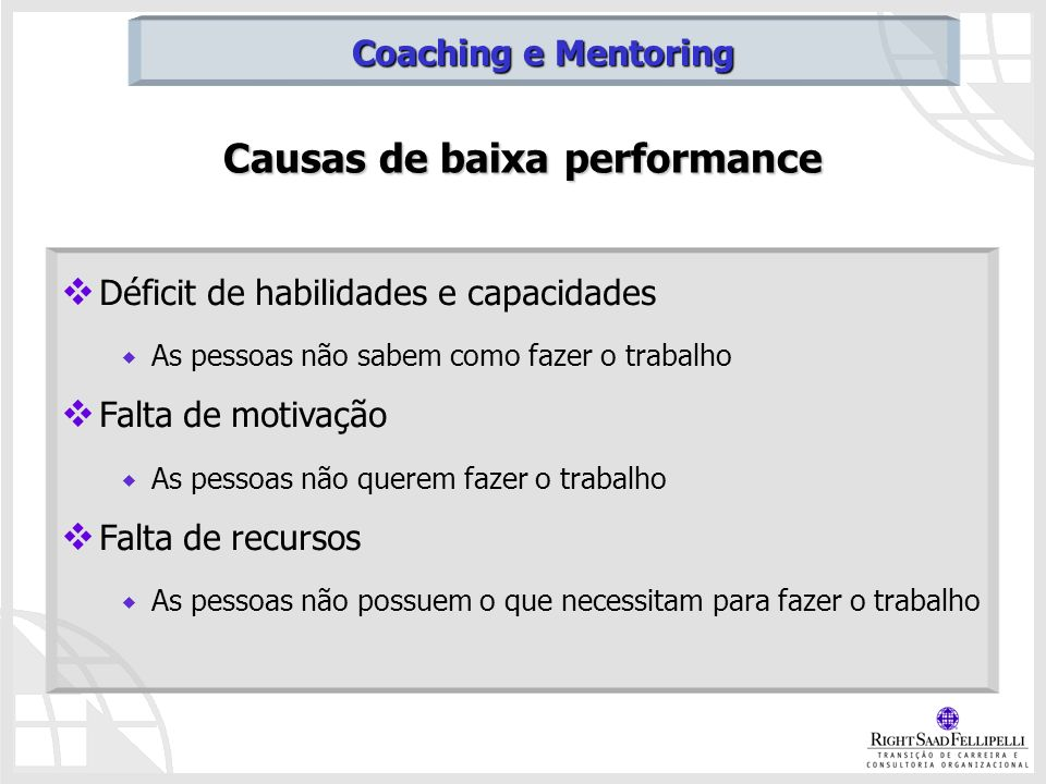 Causas de baixa performance