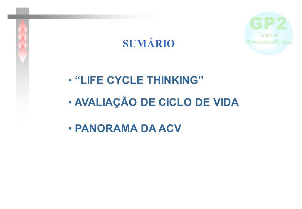 SUMÁRIO LIFE CYCLE THINKING AVALIAÇÃO DE CICLO DE VIDA PANORAMA DA ACV