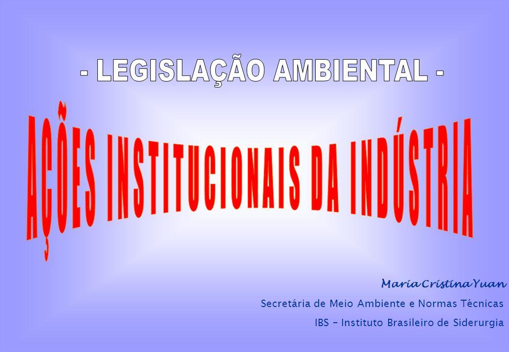 - LEGISLAÇÃO AMBIENTAL - AÇÕES INSTITUCIONAIS DA INDÚSTRIA