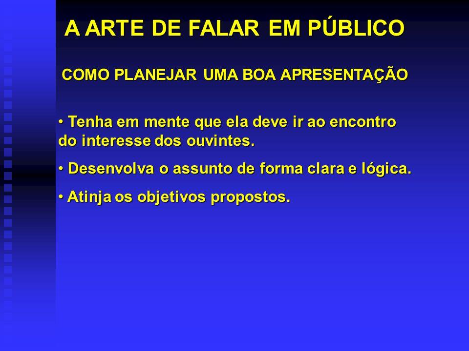 A ARTE DE FALAR EM PÚBLICO COMO PLANEJAR UMA BOA APRESENTAÇÃO
