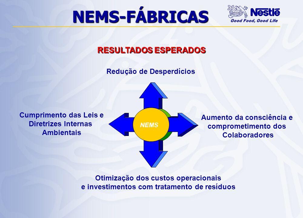 NEMS-FÁBRICAS RESULTADOS ESPERADOS Redução de Desperdícios