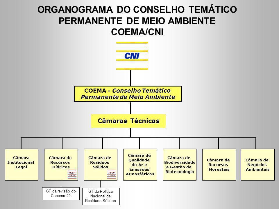 ORGANOGRAMA DO CONSELHO TEMÁTICO PERMANENTE DE MEIO AMBIENTE COEMA/CNI
