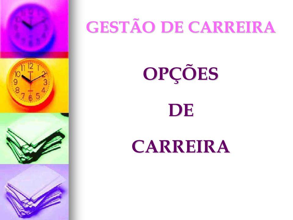 GESTÃO DE CARREIRA OPÇÕES DE CARREIRA