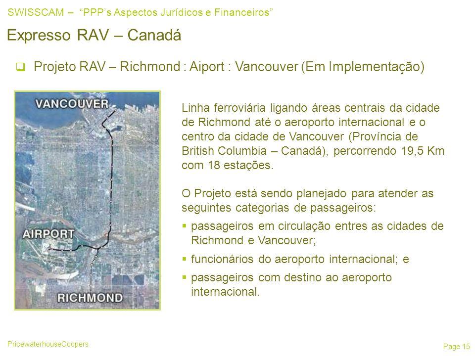 25/03/2017 Expresso RAV – Canadá. Projeto RAV – Richmond : Aiport : Vancouver (Em Implementação)