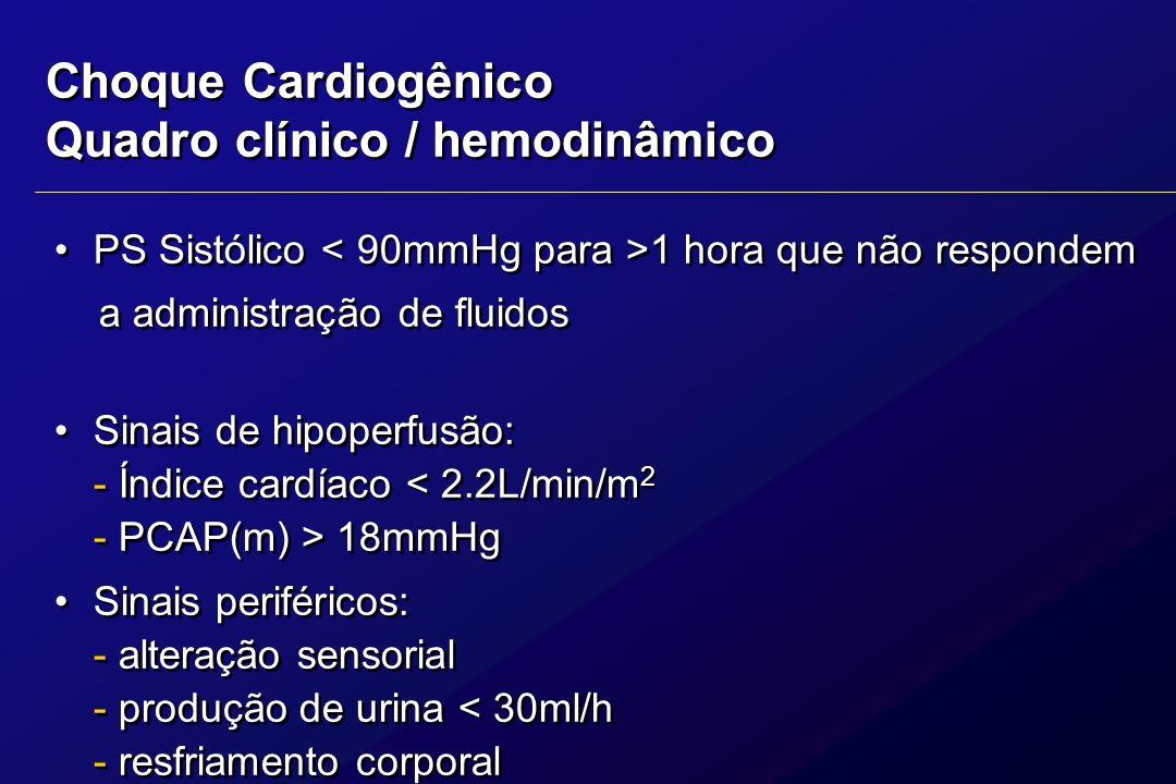 Definições Um estado de perfusão inadequada do tecido devido a disfunção cardíaca, mais comunmente causada por infarto agudo do miocárdio.