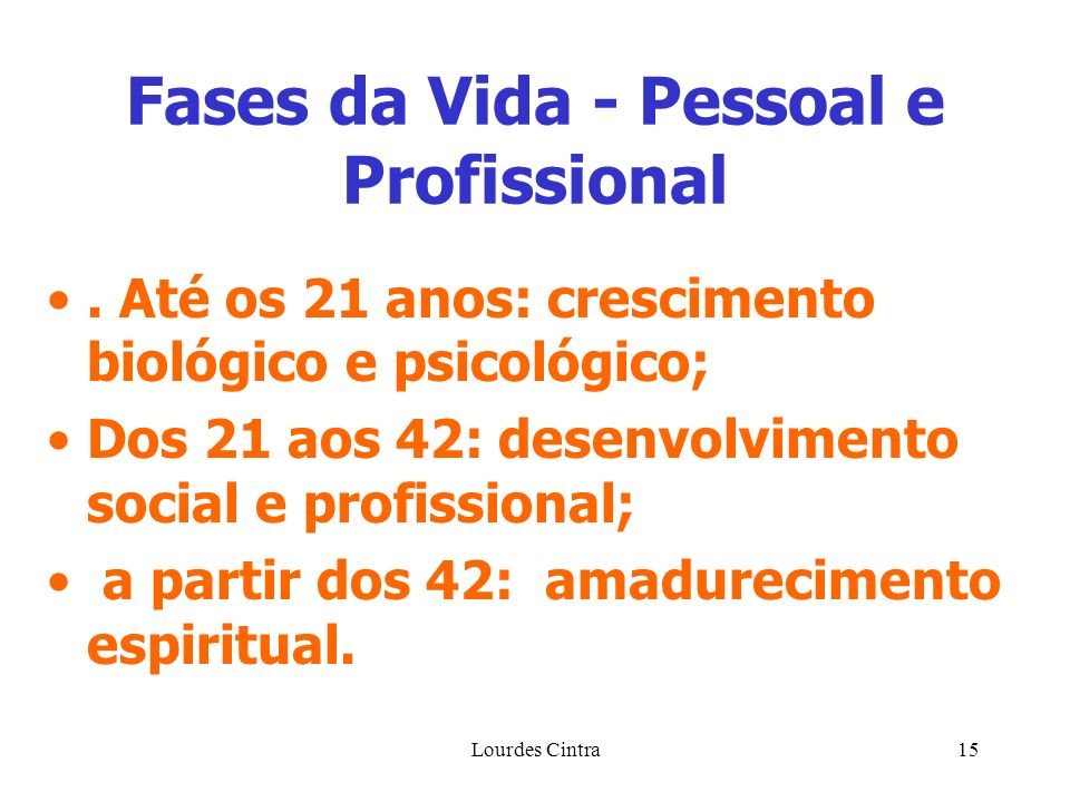 Fases da Vida - Pessoal e Profissional