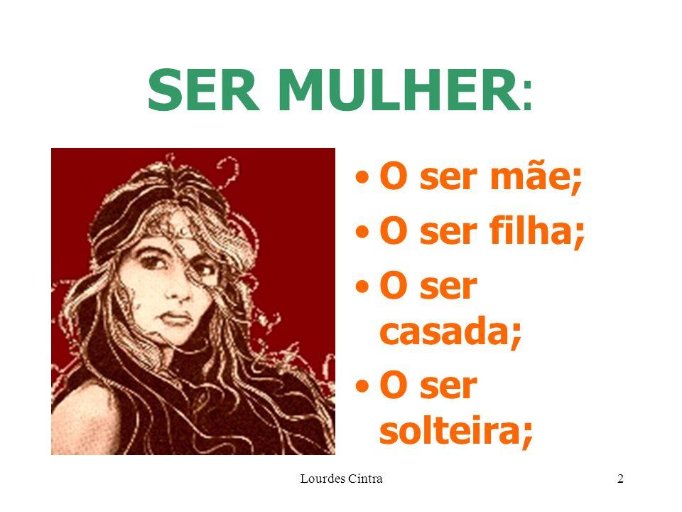 SER MULHER: O ser mãe; O ser filha; O ser casada; O ser solteira;