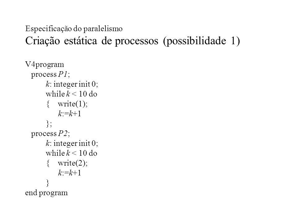 Especificação do paralelismo Criação estática de processos (possibilidade 1)