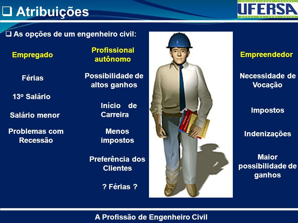 Atribuições As opções de um engenheiro civil: Profissional autônomo