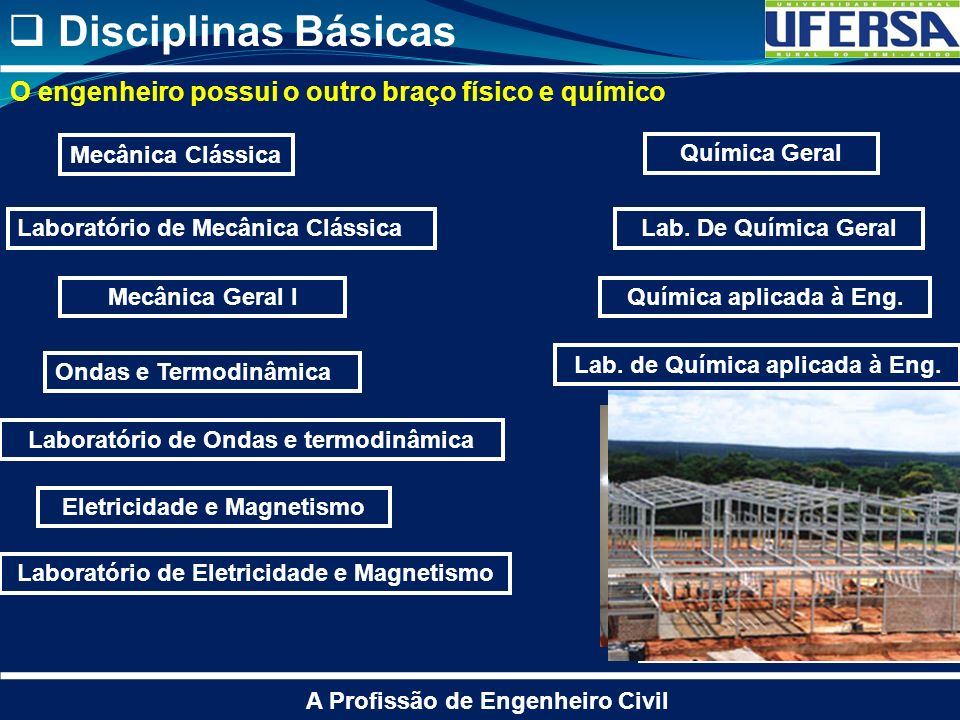 Disciplinas Básicas O engenheiro possui o outro braço físico e químico