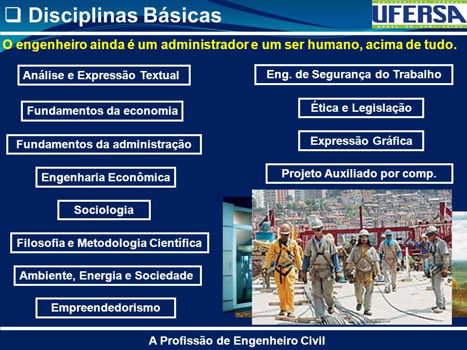 Disciplinas Básicas O engenheiro ainda é um administrador e um ser humano, acima de tudo. Análise e Expressão Textual.