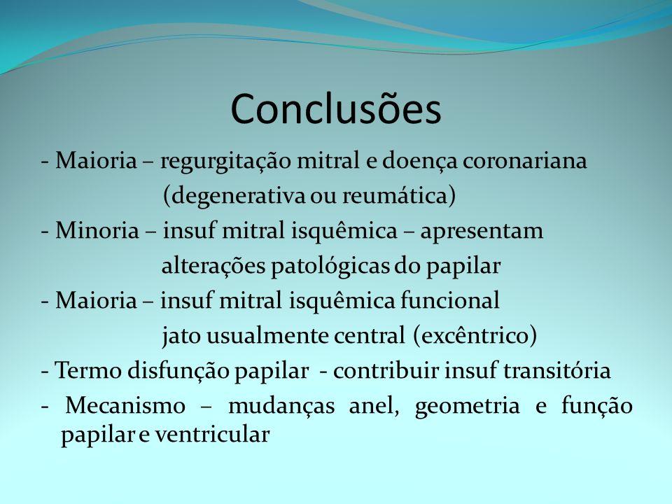 Conclusões - Maioria – regurgitação mitral e doença coronariana