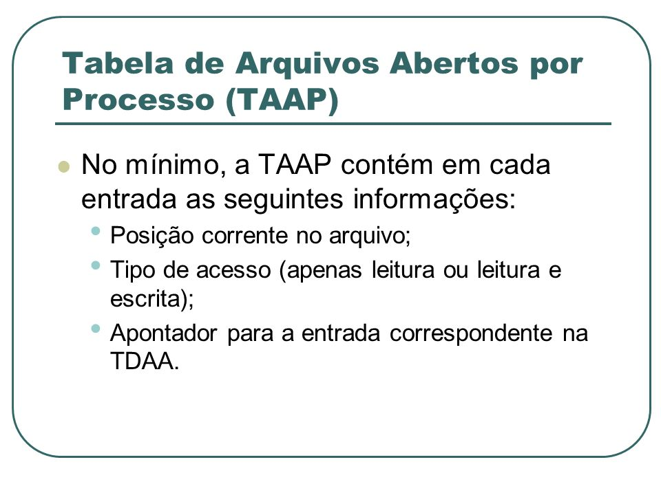 Tabela de Arquivos Abertos por Processo (TAAP)