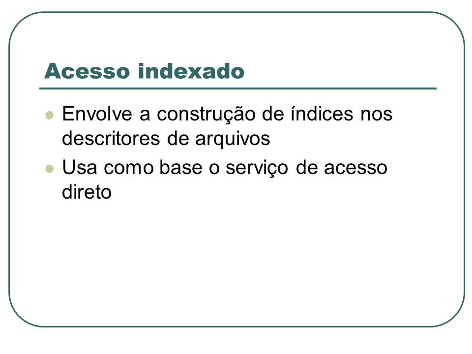 Acesso indexado Envolve a construção de índices nos descritores de arquivos.
