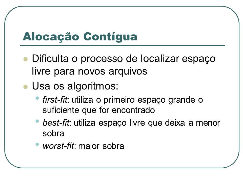 Alocação ContíguaDificulta o processo de localizar espaço livre para novos arquivos. Usa os algoritmos: