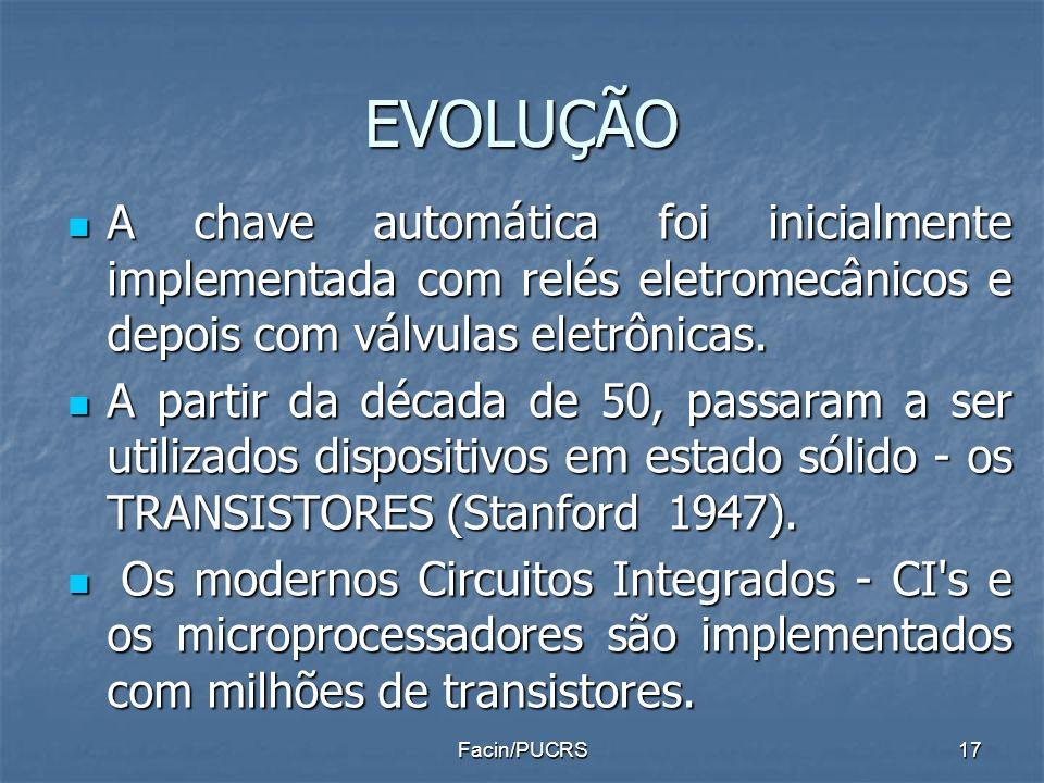 EVOLUÇÃO A chave automática foi inicialmente implementada com relés eletromecânicos e depois com válvulas eletrônicas.