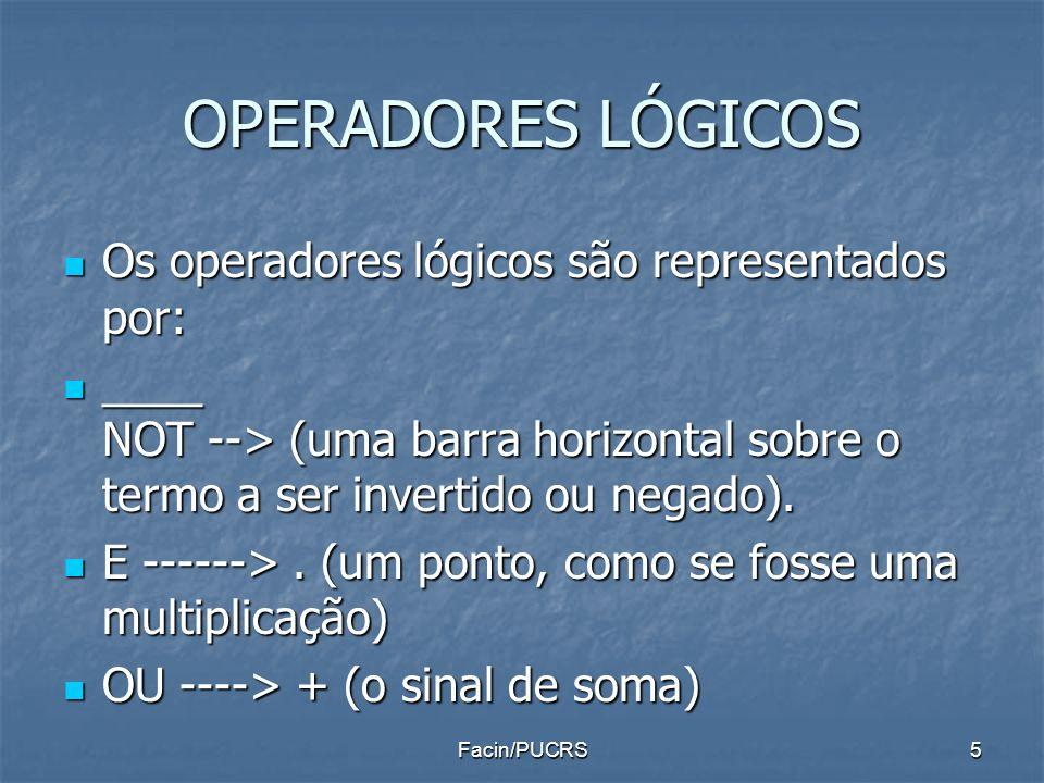 OPERADORES LÓGICOS Os operadores lógicos são representados por: