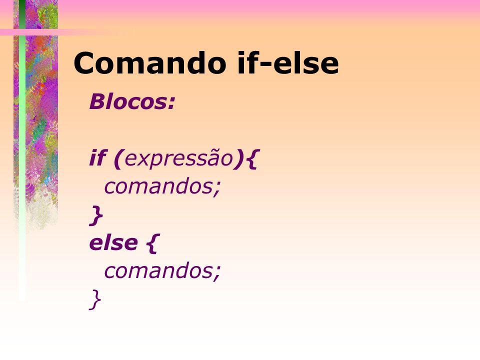 Comando if-else Blocos: if (expressão){ comandos; } else { …