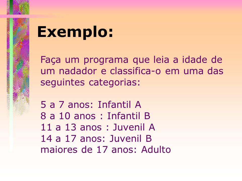 Exemplo:Faça um programa que leia a idade de um nadador e classifica-o em uma das seguintes categorias: