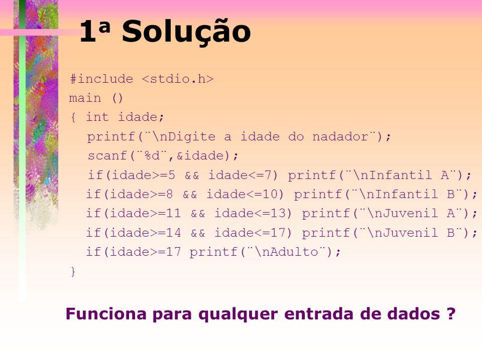 1a Solução Funciona para qualquer entrada de dados