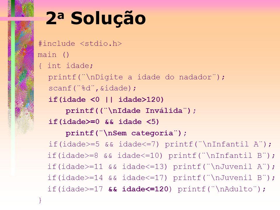 2a Solução #include <stdio.h> main () { int idade;