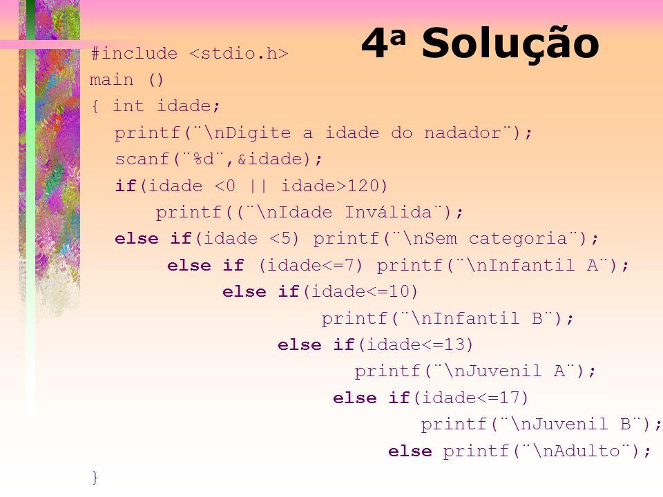 4a Solução #include <stdio.h> main () { int idade;