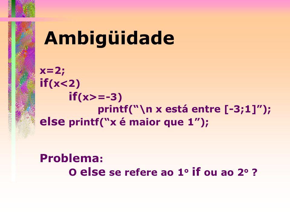 Ambigüidade if(x<2) else printf( x é maior que 1 ); Problema: x=2;