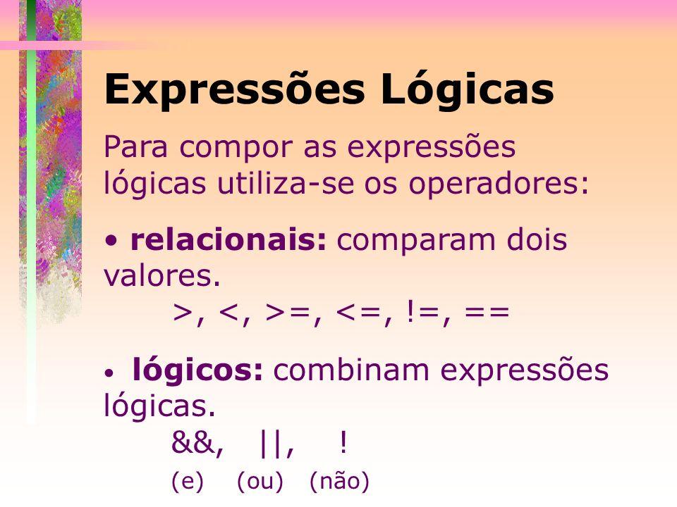 Expressões Lógicas Para compor as expressões lógicas utiliza-se os operadores: relacionais: comparam dois valores.