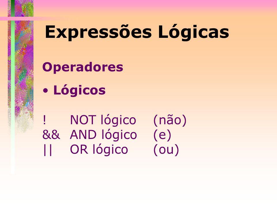Expressões Lógicas Operadores Lógicos ! NOT lógico (não)
