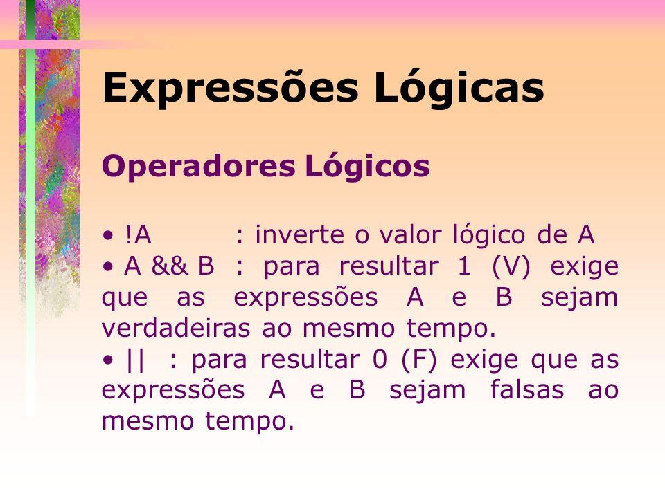 Expressões Lógicas Operadores Lógicos !A : inverte o valor lógico de A