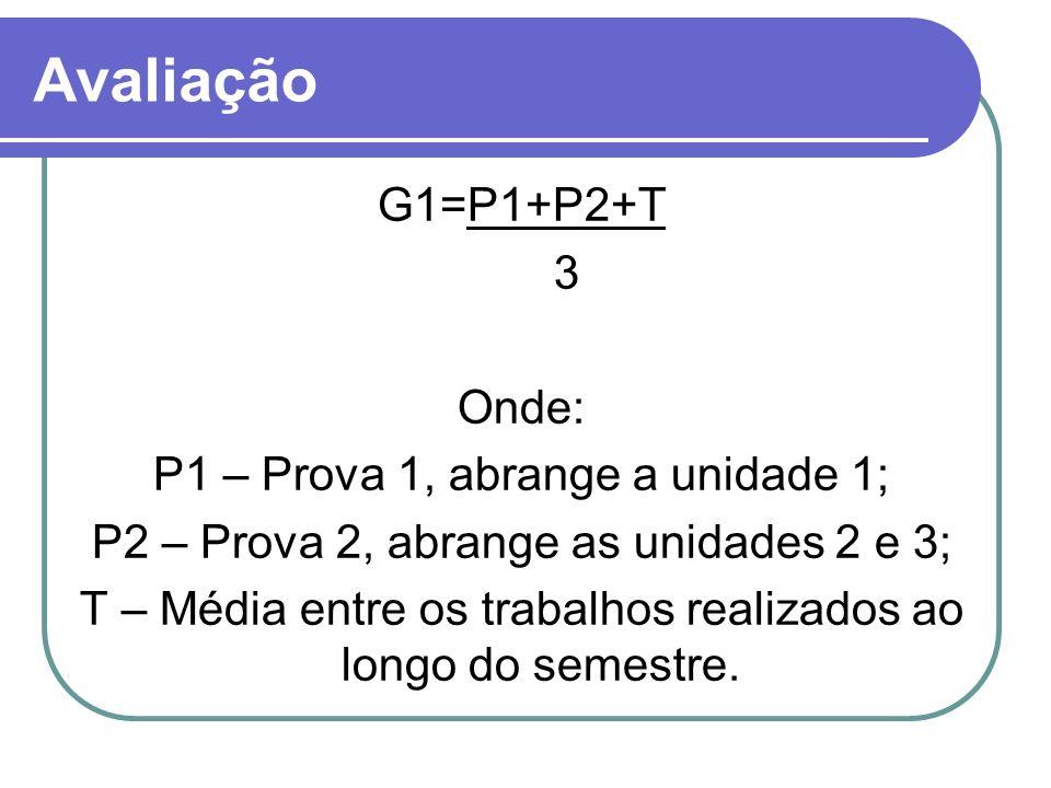 Avaliação G1=P1+P2+T 3 Onde: P1 – Prova 1, abrange a unidade 1;