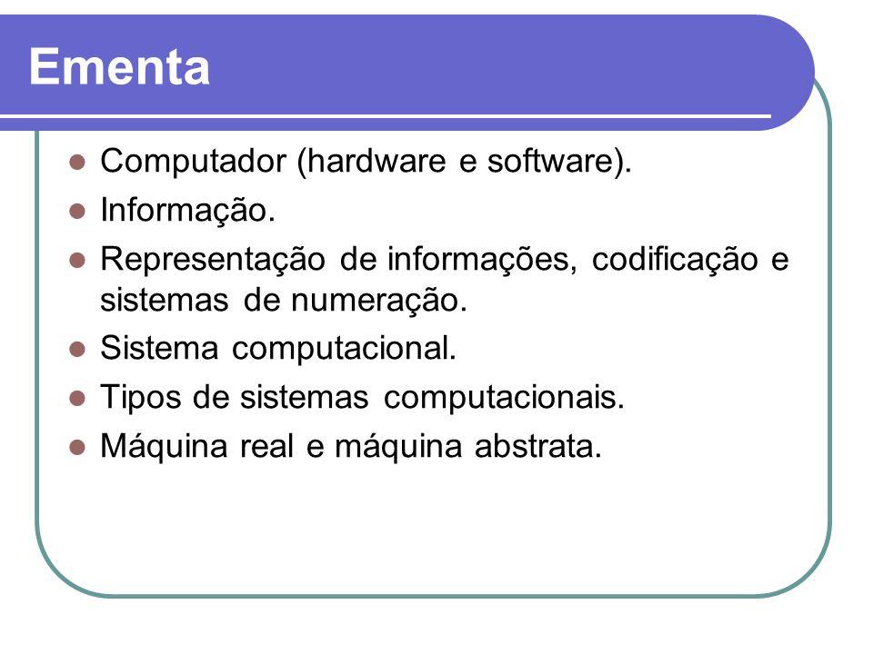 Ementa Computador (hardware e software). Informação.