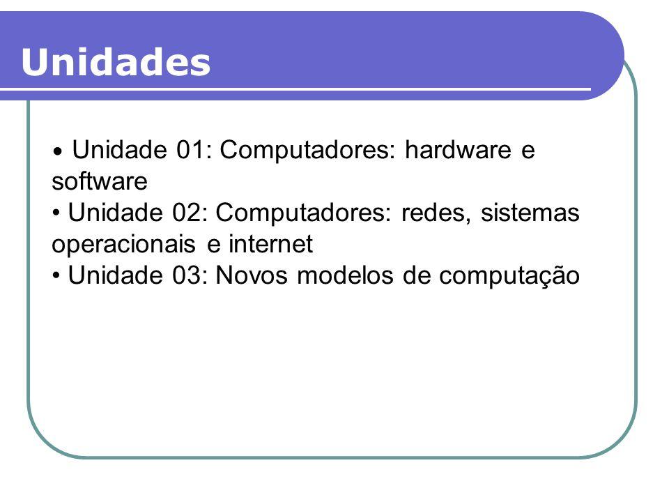 Unidades Unidade 01: Computadores: hardware e software. Unidade 02: Computadores: redes, sistemas operacionais e internet.