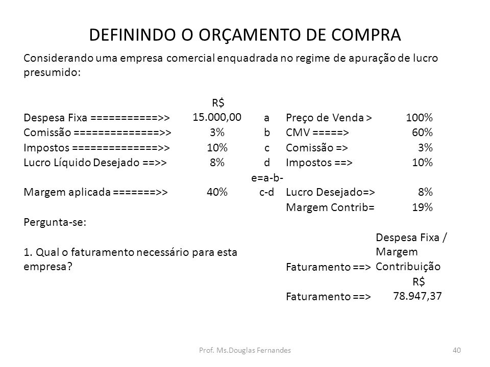 DEFININDO O ORÇAMENTO DE COMPRA