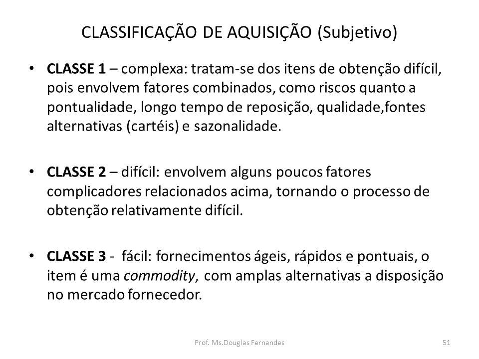 CLASSIFICAÇÃO DE AQUISIÇÃO (Subjetivo)