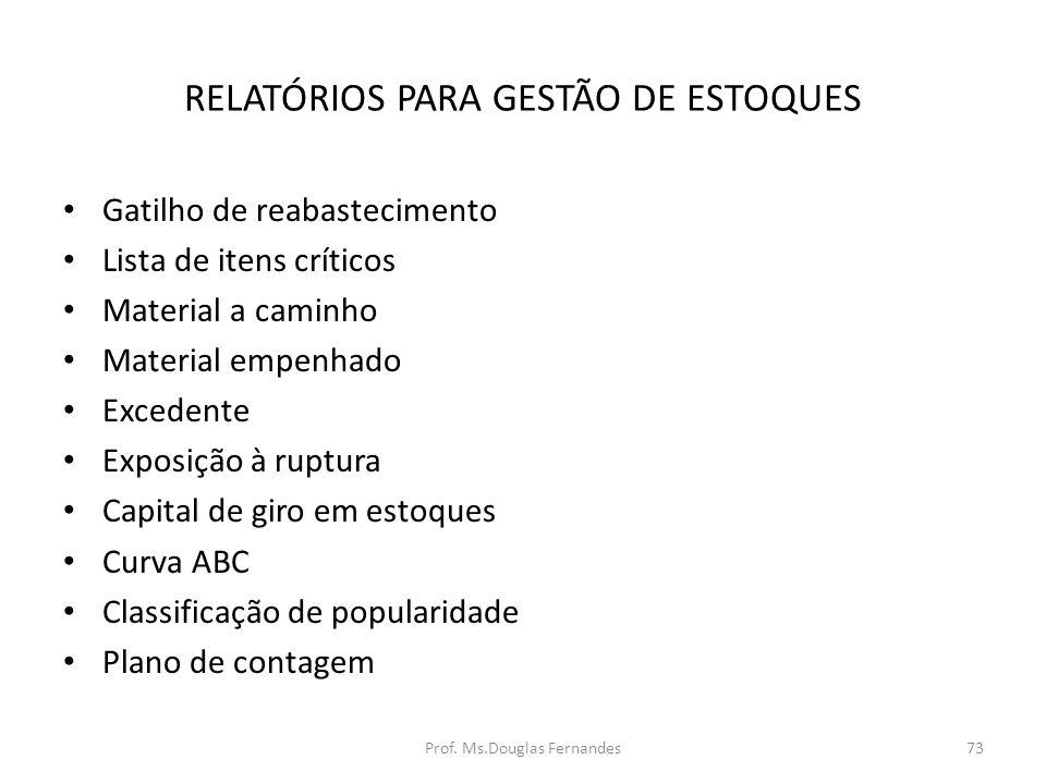 RELATÓRIOS PARA GESTÃO DE ESTOQUES