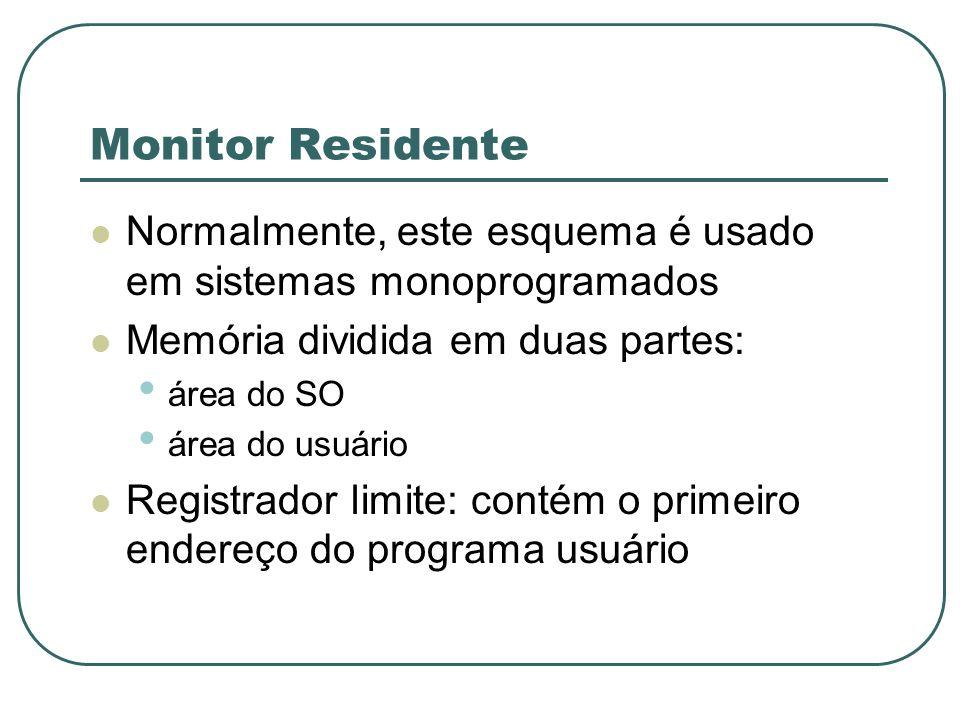 Monitor Residente Normalmente, este esquema é usado em sistemas monoprogramados. Memória dividida em duas partes: