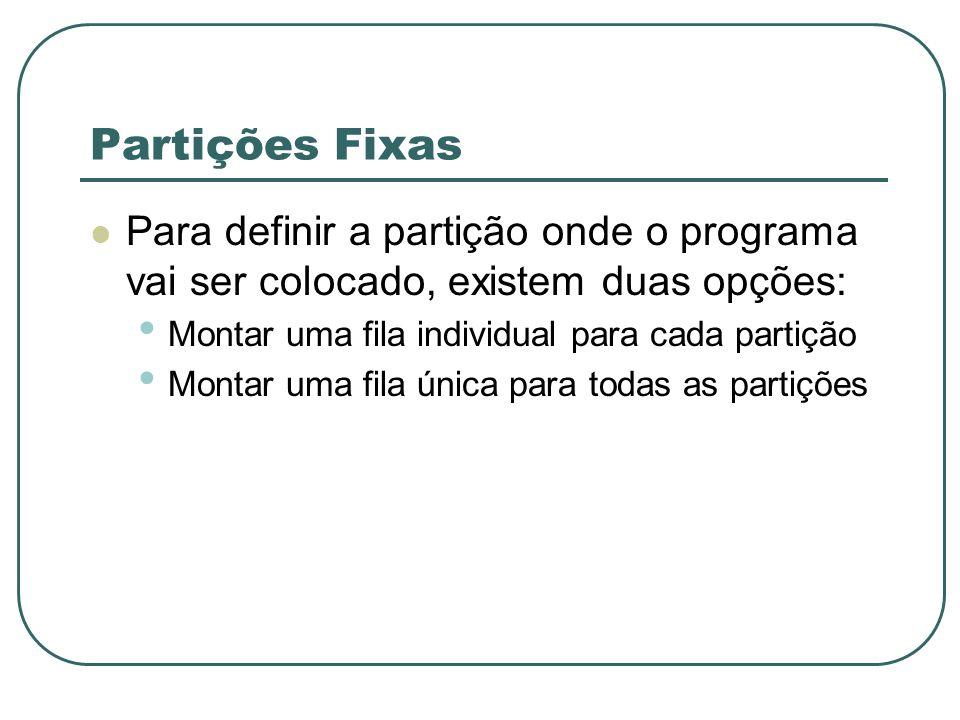 Partições Fixas Para definir a partição onde o programa vai ser colocado, existem duas opções: Montar uma fila individual para cada partição.