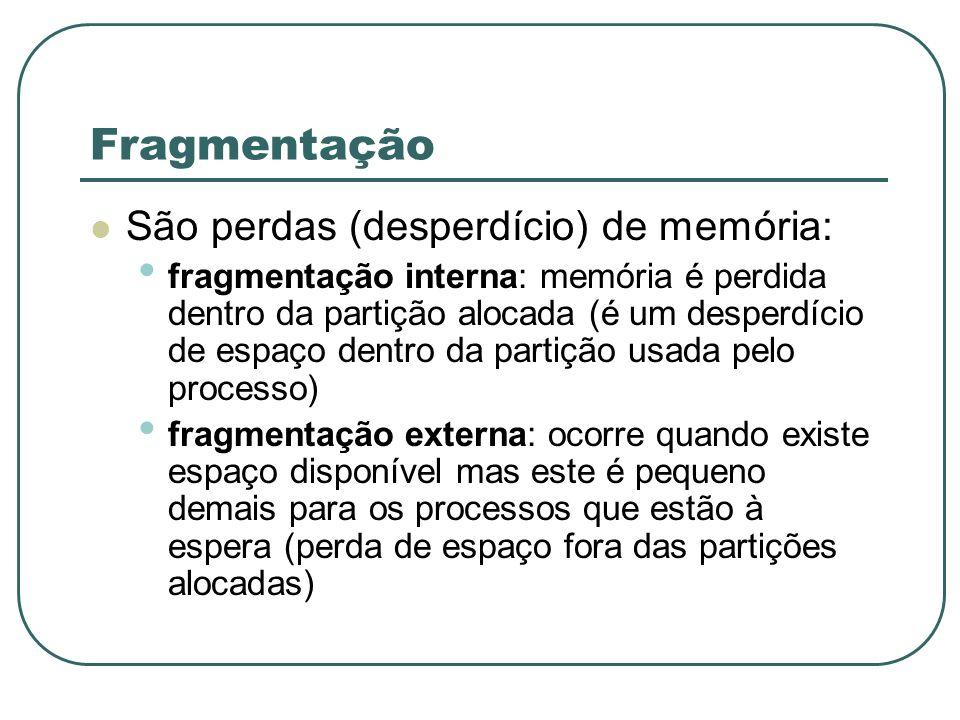 Fragmentação São perdas (desperdício) de memória: