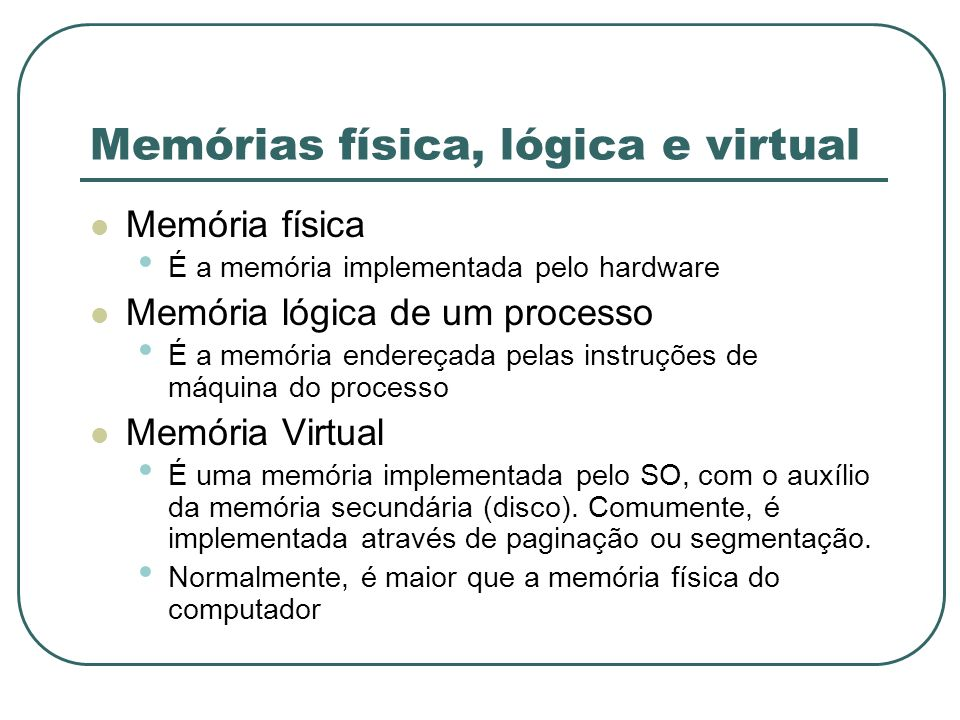 Memórias física, lógica e virtual