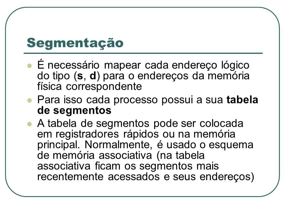 Segmentação É necessário mapear cada endereço lógico do tipo (s, d) para o endereços da memória física correspondente.