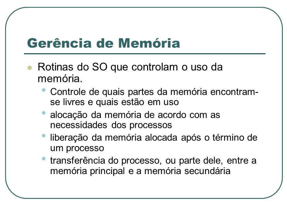 Gerência de Memória Rotinas do SO que controlam o uso da memória.