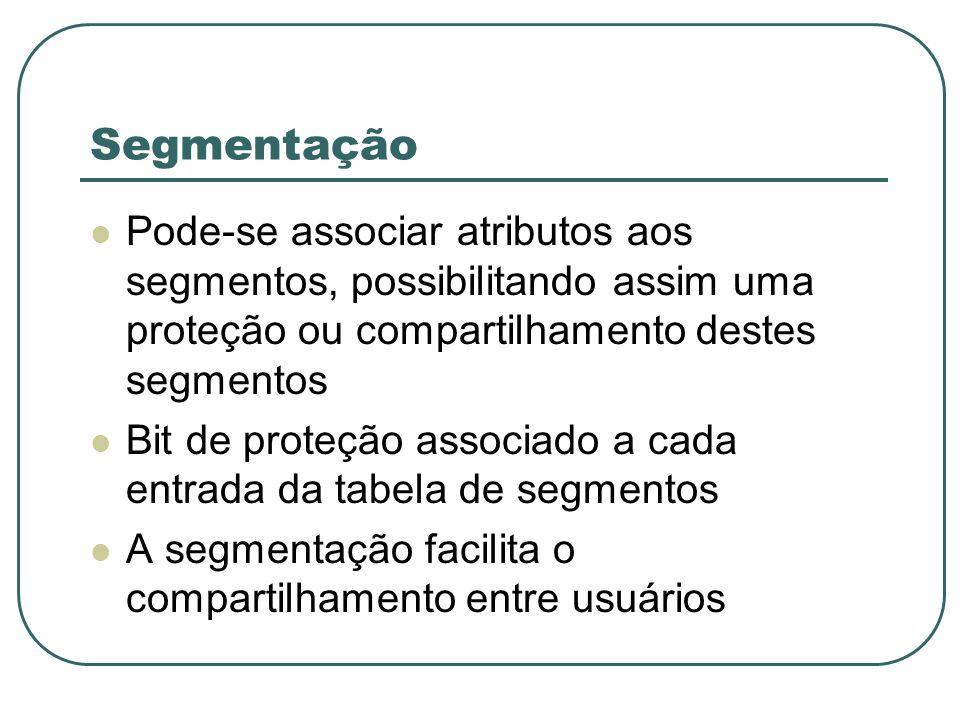 Segmentação Pode-se associar atributos aos segmentos, possibilitando assim uma proteção ou compartilhamento destes segmentos.