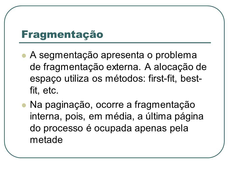 Fragmentação A segmentação apresenta o problema de fragmentação externa. A alocação de espaço utiliza os métodos: first-fit, best-fit, etc.