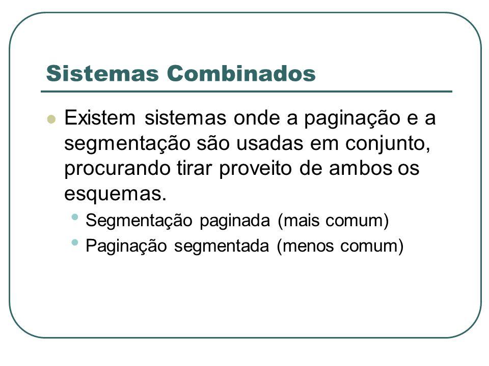 Sistemas Combinados Existem sistemas onde a paginação e a segmentação são usadas em conjunto, procurando tirar proveito de ambos os esquemas.
