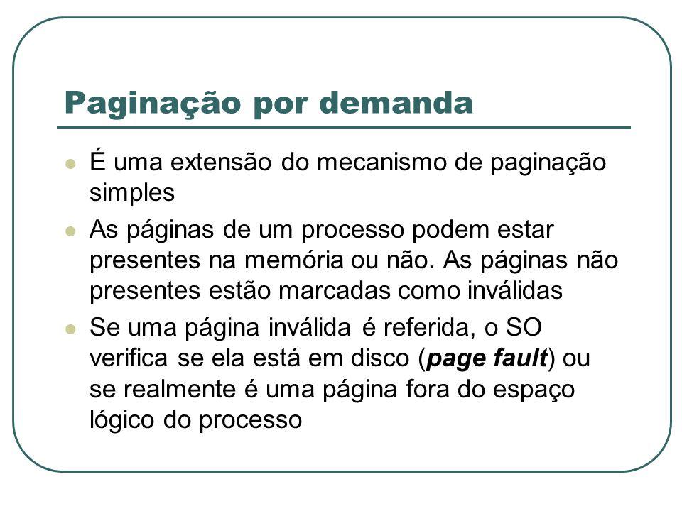 Paginação por demanda É uma extensão do mecanismo de paginação simples