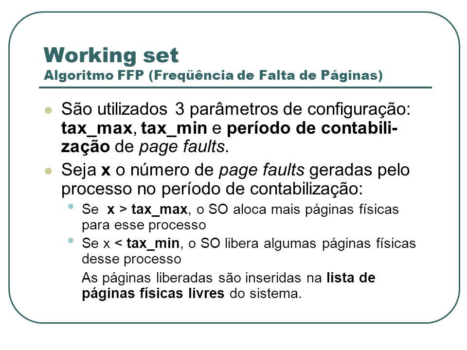 Working set Algoritmo FFP (Freqüência de Falta de Páginas)