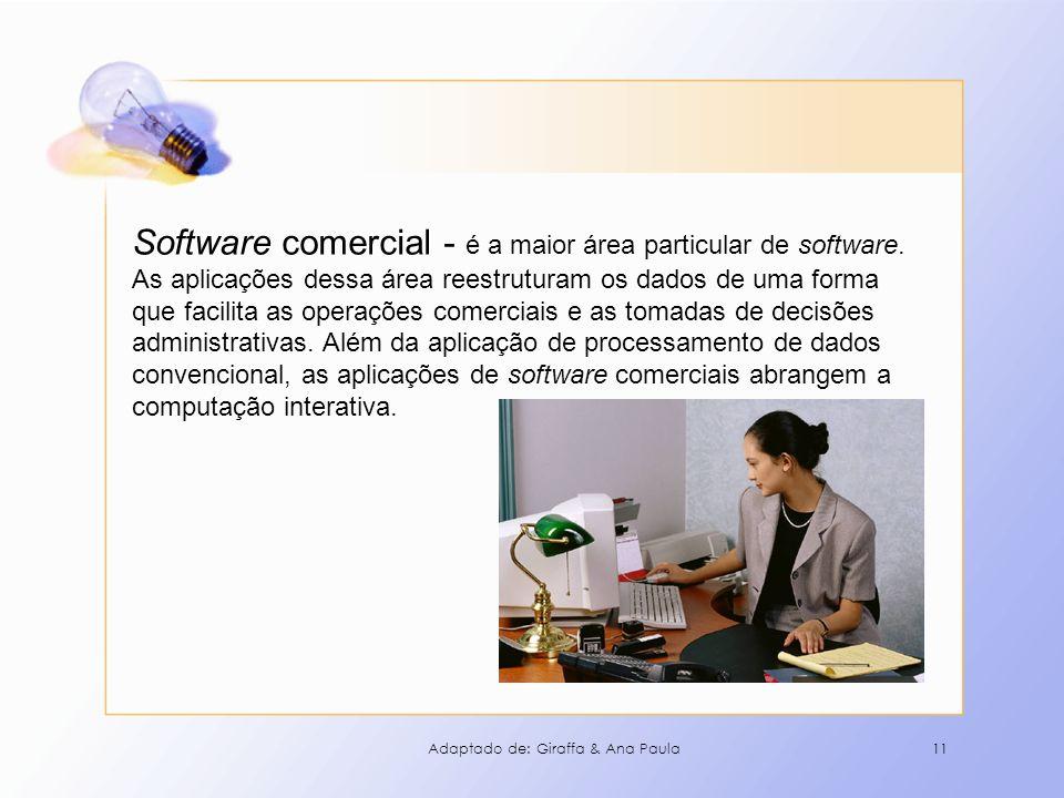 Software comercial - é a maior área particular de software