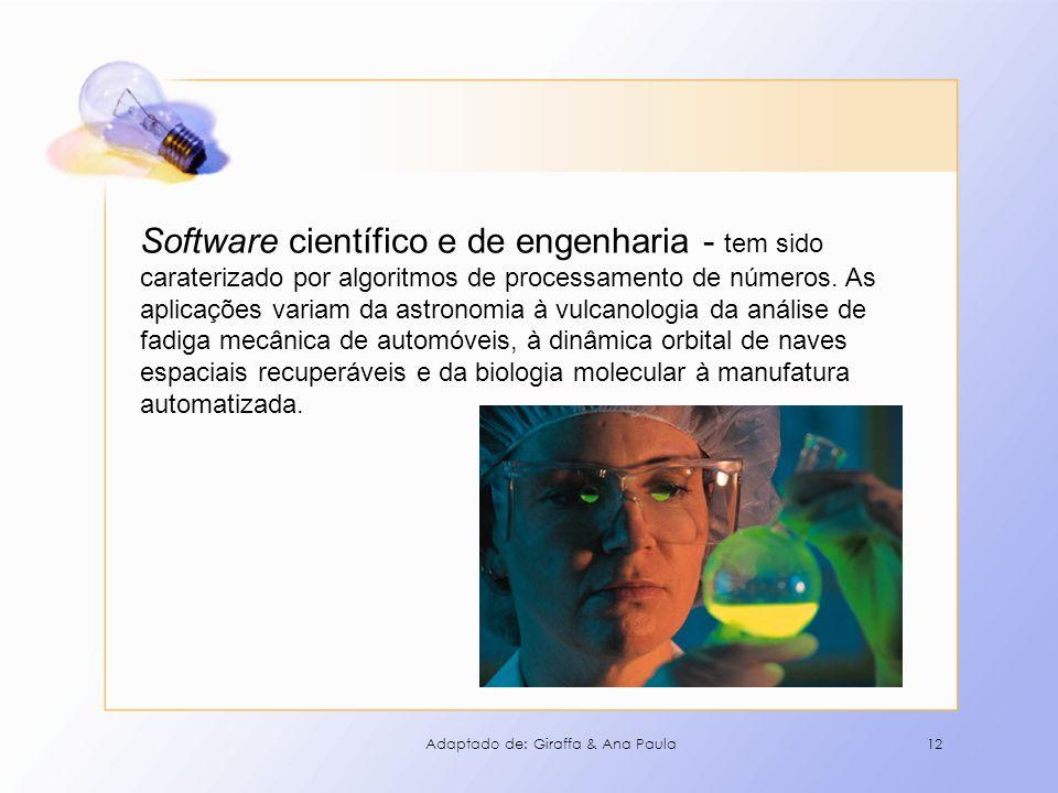 Software científico e de engenharia - tem sido caraterizado por algoritmos de processamento de números. As aplicações variam da astronomia à vulcanologia da análise de fadiga mecânica de automóveis, à dinâmica orbital de naves espaciais recuperáveis e da biologia molecular à manufatura automatizada.
